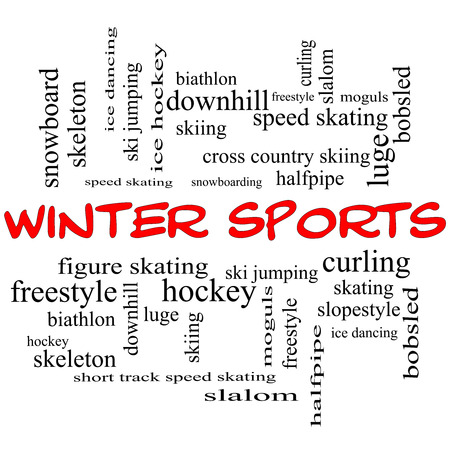 moguls: Winter Sports Word Cloud Concept in red caps with great terms such as curling, skiing, snowboarding and more. Stock Photo
