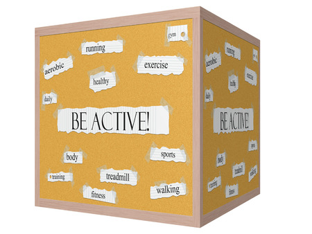 Be Active! 3D cube Corkboard Word Concept with great terms such as gym, sports, walking and more. Stock Photo