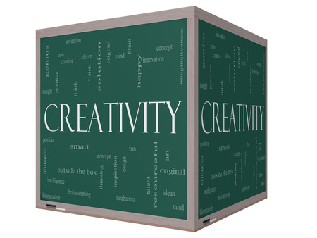 Creativity Word Cloud Concept on a 3D cube Chalkboard with great terms such as happy, innovation, fun, incubaton, ideas and more. photo