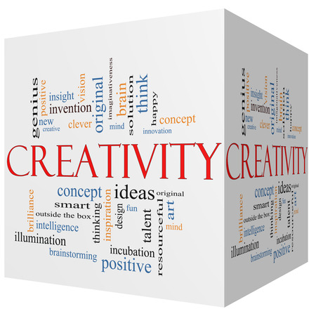 imaginativeness: Creativity 3D cube Word Cloud Concept with great terms such as design, happy, innovation, fun, incubaton, ideas and more. Stock Photo