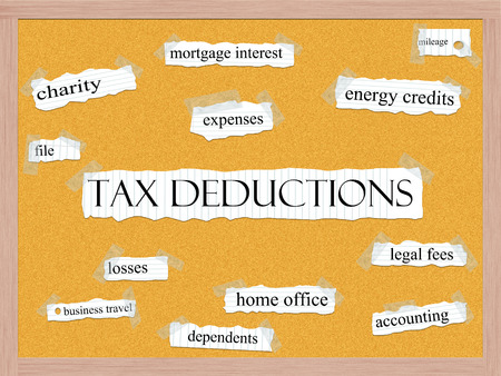 Tax Deductions Corkboard Word Concept with great terms such as charity, mileage, losses and more.