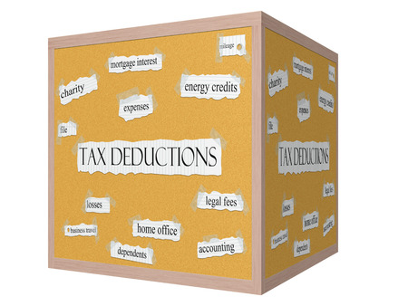 mileage: Tax Deductions 3D cube Corkboard Word Concept with great terms such as charity, mileage, losses and more. Stock Photo
