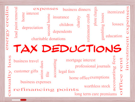 Tax Deductions Word Cloud Concept on a Whiteboard with great terms such as mortgage, dependents, fees and more. photo