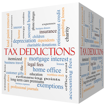 fees: Tax Deductions 3D cube Word Cloud Concept with great terms such as mortgage, dependents, fees and more.