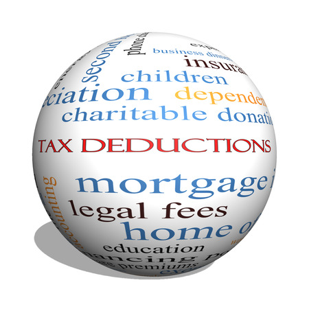 home expenses: Tax Deductions 3D sphere Word Cloud Concept with great terms such as mortgage, dependents, fees and more. Stock Photo