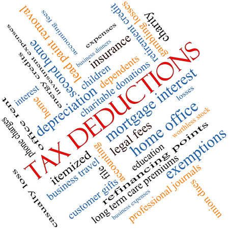 fees: Tax Deductions Word Cloud Concept angled with great terms such as mortgage, dependents, fees and more. Stock Photo