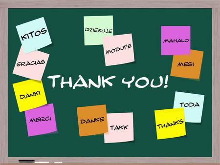 mesi: Thank you written on blackboard in different languages on colorful sticky notes. Stock Photo