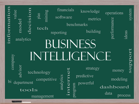 Business Intelligence Word Cloud Concept on a Blackboard with great terms such as predictive, modeling, analytics and more.