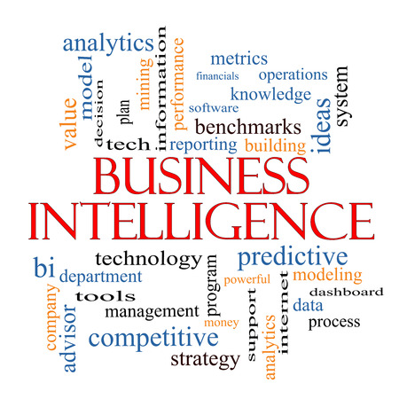 Business Intelligence Word Cloud Concept with great terms such as predictive, modeling, analytics and more.