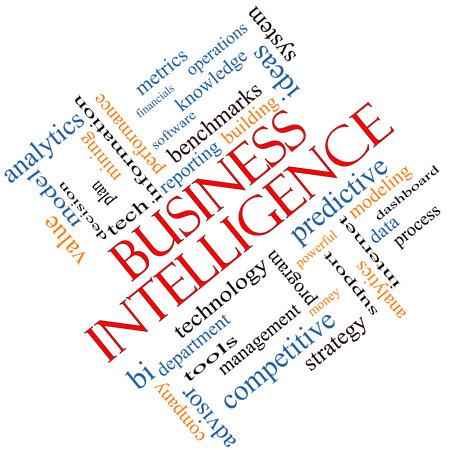predictive: Business Intelligence Nube Concetto Word inclinata con termini quali grandi predittivi, modellazione, analisi e altro ancora.