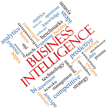 Business Intelligence Word Cloud Concept angled with great terms such as predictive, modeling, analytics and more.