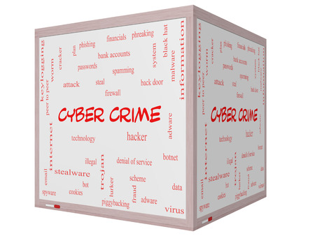 adware: Cyber Crime Word Cloud Concept on a 3D cube Whiteboard with great terms such as hacker, malware, data and more. Stock Photo