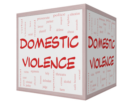 Domestic Violence Word Cloud Concept on a 3D cube Whiteboard with great terms such as victim, assault, judge, harm, social, education and more. photo