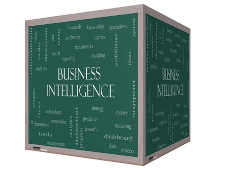 predictive: Business Intelligence Nube Concetto Word su una lavagna cubo 3D con termini grandi come predittivi, la modellazione, analisi e altro. Archivio Fotografico