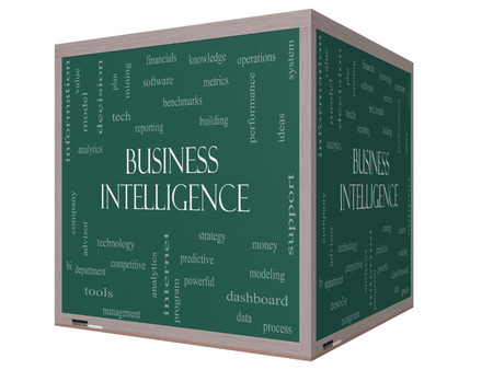 Business Intelligence Word Cloud Concept on a 3D cube Blackboard with great terms such as predictive, modeling, analytics and more. Stock Photo