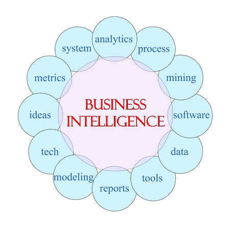 Business Intelligence concept circular diagram in pink and blue with great terms such as analytics, process, mining, data and more.