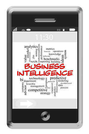 Business Intelligence Word Cloud Concept of Touchscreen Phone with great terms such as data, mining, reporting and more. Stock Photo