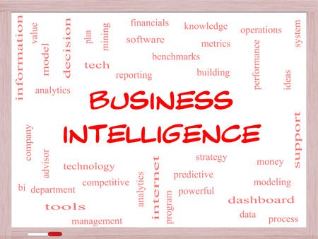 benchmarks: Business Intelligence Word Cloud Concept on a Whiteboard with great terms such as predictive, modeling, analytics and more.