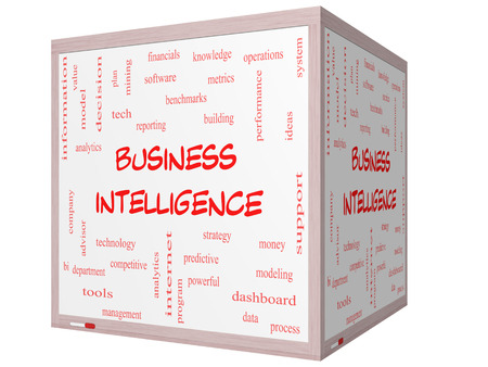 benchmarks: Business Intelligence Word Cloud Concept on a 3D cube Whiteboard with great terms such as predictive, modeling, analytics and more.