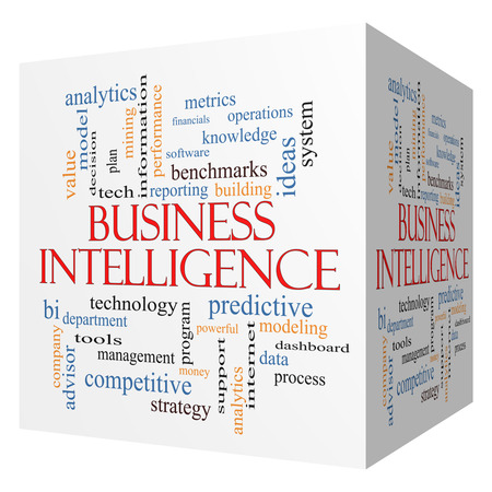 Business Intelligence 3D cube Word Cloud Concept with great terms such as predictive, modeling, analytics and more.