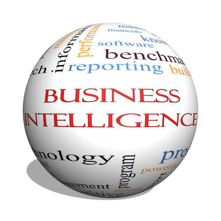 Business Intelligence 3D sphere Word Cloud Concept with great terms such as predictive, modeling, analytics and more. Stock Photo