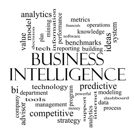 Business Intelligence Word Cloud Concept in black and white with great terms such as predictive, modeling, analytics and more.