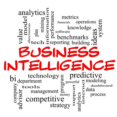 Business Intelligence Word Cloud Concept in red caps with great terms such as predictive, modeling, analytics and more.