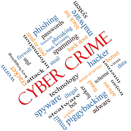 adware: Cyber Crime Word Cloud Concept angled with great terms such as hacker, malware, data and more. Stock Photo