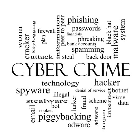 Cyber Crime Word Cloud Concept in black and white with great terms such as hacker, malware, data and more.