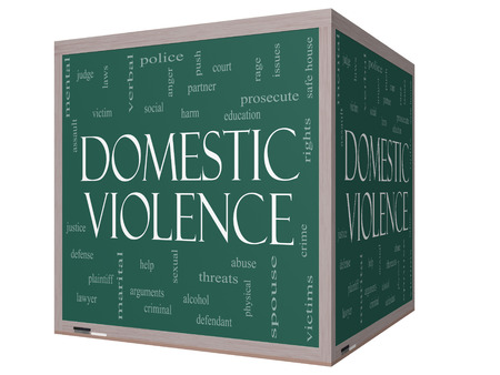 Domestic Violence Word Cloud Concept on a 3D cube Blackboard with great terms such as victim, assault, judge, harm, social, education and more. photo