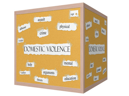 Domestic Violence 3D cube Corkboard Word Concept with great terms such as abuse, crime, victim, help, police and more.