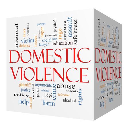 educacion sexual: Violencia Doméstica cubo 3D Palabra Nube Concepto con los términos tales como víctima, asalto, un juez, un daño, social, educación y más.
