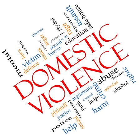 Domestic Violence Word Cloud Concept angled with great terms such as victim, assault, judge, harm, social, education and more. Stock Photo