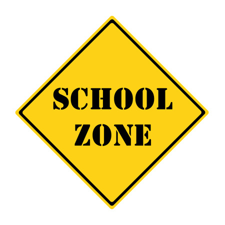 A yellow and black diamond shaped road sign with the words SCHOOL ZONE on it making a great concept.