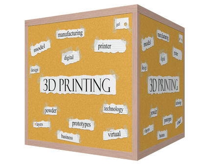 3D Printing 3D cube Corkboard Word Concept with great terms such as printer, gel, digital and more.