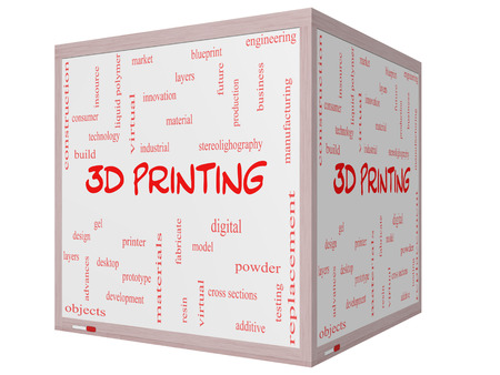 3D Printing Word Cloud Concept on a 3D cube Whiteboard with great terms such as digital, layers, model and more. photo