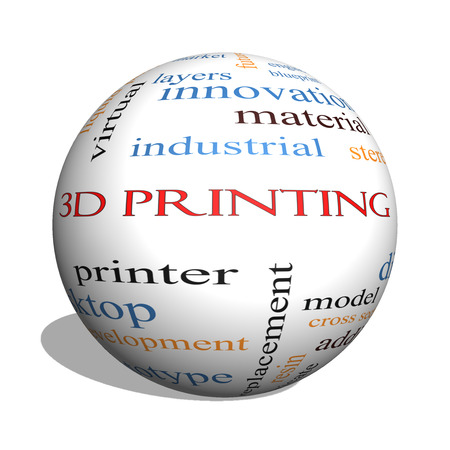 3D Printing 3D sphere Word Cloud Concept with great terms such as digital, layers, model and more. photo