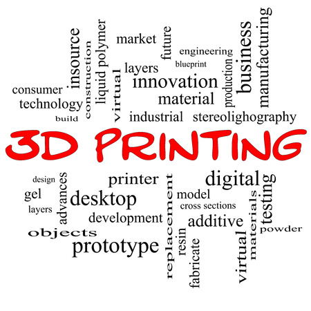 fabricate: 3D Printing Word Cloud Concept in red caps with great terms such as digital, layers, model and more.