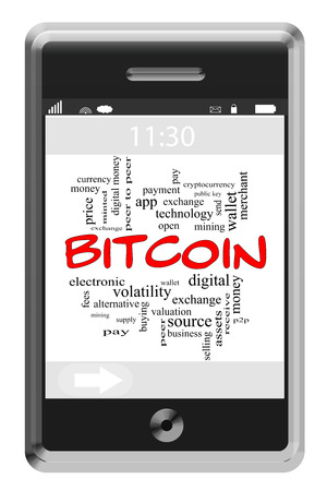 Bitcoin Word Cloud Concept of Touchscreen Phone with great terms such as digital, money, wallet and more. photo