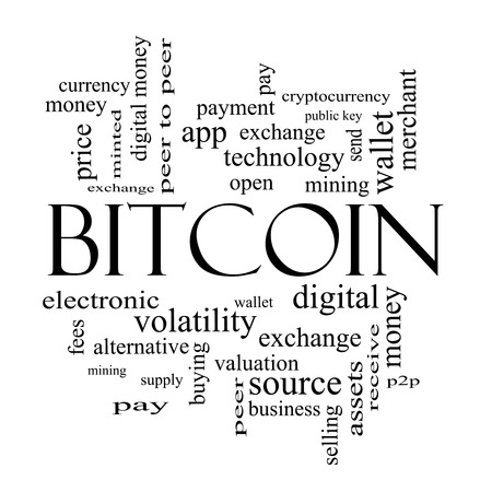 minted: Bitcoin Word Cloud Concept in black and white with great terms such as digital, money, wallet and more.