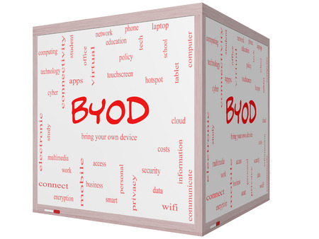 BYOD Word Cloud Concept on a 3D cube Whiteboard with great terms such as bring, your, own, device and more. photo