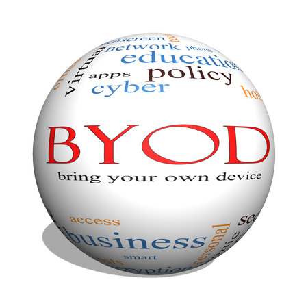 BYOD 3D sphere Word Cloud Concept with great terms such as bring, your, own, device and more. photo