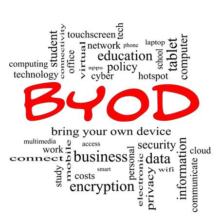 apporter: BYOD Word Cloud Concept en bonnets rouges avec des termes tels que apportez, votre, propre, dispositif et plus.