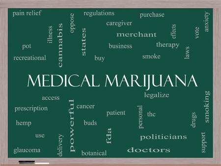 치료, 합법화, 환자 등의 훌륭한 용어로 칠판에 의료 마리화나 단어 구름 개념.