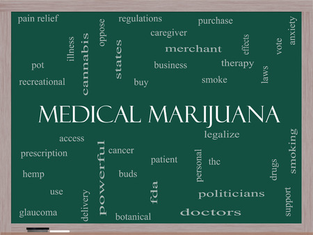 Medical Marijuana Word Cloud Concept on a Blackboard with great terms such as therapy, legalize, patient and more. photo