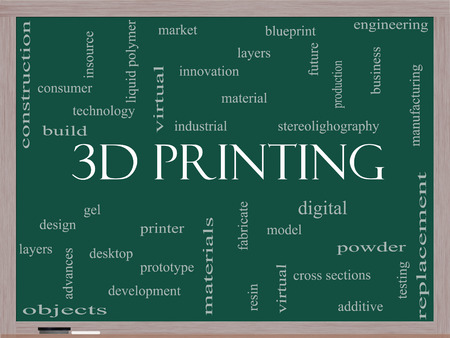 3D Printing Word Cloud Concept on a Blackboard with great terms such as digital, layers, model and more. photo