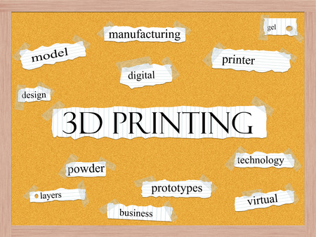 prototypes: 3D Printing Corkboard Word Concept with great terms such as printer, gel, digital and more. Stock Photo