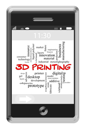 3D Printing Word Cloud Concept of Touchscreen Phone with great terms such as digital, design, layers and more. photo