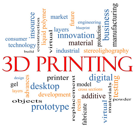 3D Printing Word Cloud Concept with great terms such as digital, layers, model and more. photo