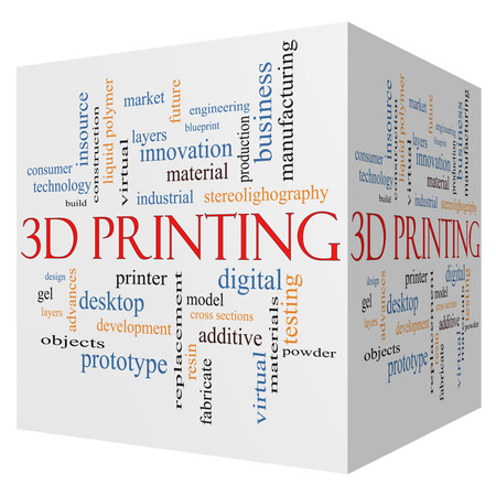 3D Printing 3D cube Word Cloud Concept with great terms such as digital, layers, model and more. photo